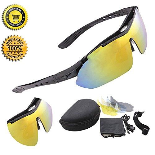 [Neue Version] Buydaly Radsportbrille Outdoor-Sport treibenden Sonnenbrille polarisierte Veränderbare 5 Linsen UV400 SP0868 (black)