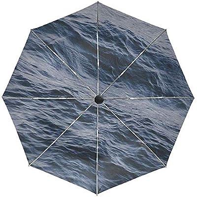 Paraguas automático Olas del mar Superficie Agua Viaje Conveniente A Prueba de Viento Impermeable Secado rápido Plegado Automático Abrir Cerrar