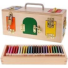 B Blesiya Juguete Montessori de Madera Caja de Cerradura y Caja de Color Juego de Aprendizaje