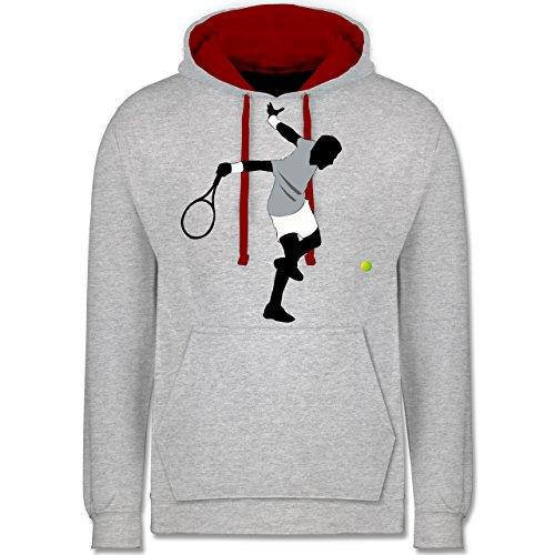 Tennis - Tennis Squash Spieler - Kontrast Hoodie Grau Meliert/Rot