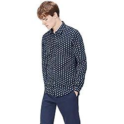 FIND Camisa Entallada de Lunares para Hombre, Azul (Navy), Medium