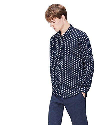 FIND Camisa Entallada de Lunares para Hombre, Azul (Navy), XX-Large