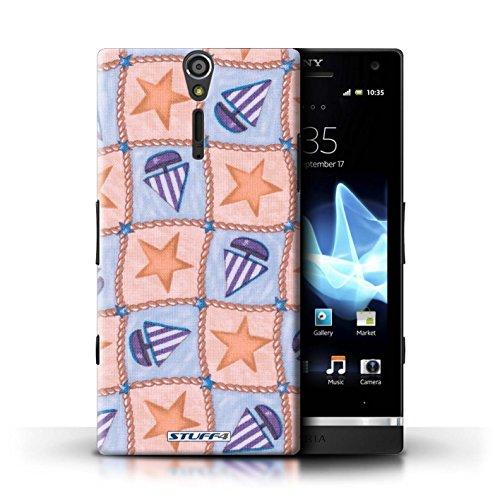 Kobalt® Imprimé Etui / Coque pour Sony Xperia S/LT26i / Violettes/Vertes conception / Série Bateaux étoiles Pêche/Violet