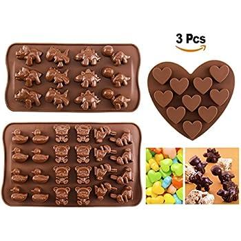 Moule chocolat joyoldelf moule silicone moule bonbon en forme de animaux mignons et cœurs
