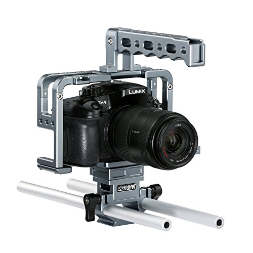 Best Sevenoak SK-GHC20 Aluminum Camera Movie Video Cage with Top Handle Grip and Shoe Mount 15mm Rods for Camera Rig Panasonic Lumix DMC-GH3, GH4