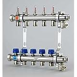 Uponor Calefacción circular Distribución de acero inoxidable UFH Distribución de 7 Calefacción círculos distribuidor para suelo radiante con flujo de válvulas y cuchillo