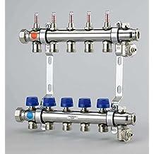 Uponor Calefacción circular Distribución de acero inoxidable UFH Distribución de 9 Calefacción círculos distribuidor para suelo radiante con flujo de válvulas y cuchillo