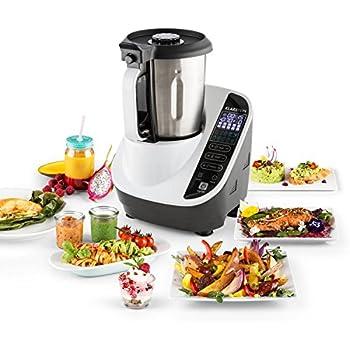Klarstein Food Circus Robot de cuisine multifonctions (sans BPA, 10 programmes, fonction chauffante, cuiseur vapeur, moteur 500W, puissance 1100W, 10 vitesses) - blanc