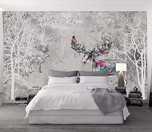 9d00d7c76a2 Papier Peint 3D Aquarelle Abstraite De Forêt De Wapitis Vintage Moderne  Papier Peint Intissé Décoration Murale