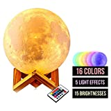 Lampada Luna 3D Large |15CM (5.9 Inch) Printed Multicolor Moon Light USB Rechargeable Color Changing RGB Wake up Light Moon Lampada