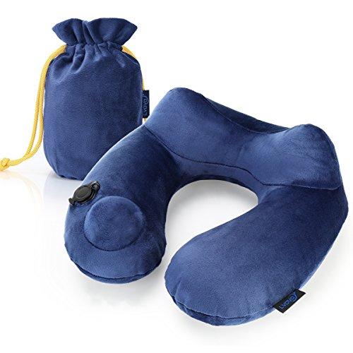 Reisekissen mit Ergonomischer U-förmiges Reise-Nackenkissen Tragbare Nackenstützen, aufblasbares, stützendes,bequemes und leichtes Nackenkissen für Schlaf im Flugzeug, Auto oder Zug (blau)