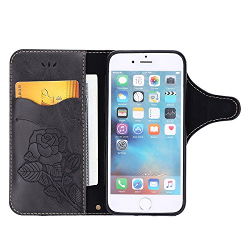 Custodia iPhone 8,Custodia iPhone 7,ikasus® Cover iPhone 8 / iPhone 7 Custodia [PU Leather] [Shock-Absorption] Protettiva Portafoglio Cover Custodia Con retro fibbia in pelle 3D rilievo in rilievo Ros Nero