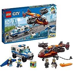 LEGO City - Police Policía Aérea: Robo del Diamante, juguete divertido y creativo de construcción con vehículos, luces y sonido (60209)