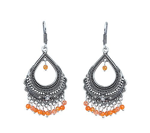 Waama Jewels Elegant Pair Of Multi Color Pearls Silver Plated Bali Dangle & Drop Earring For All Occasions Wedding & Summer Fashion Collection For Women & Girls