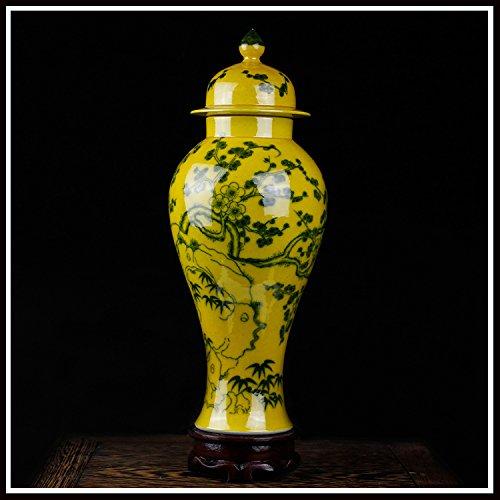 14 * 30cm/Gelbe Vase Antike Vase Blaue Und Weiße Porzellanflasche Bücherregal Dekoration/Gelb/Chinesischen Stil,B Antik-weiße Bücherregal