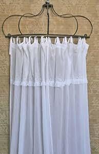 Chic antique *rideau voile panneau rideau voile oeillet avec froufrous blanc style shabby chic 240 x 110 cm