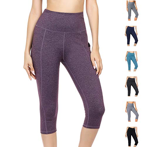 WateLves Damen Hohe Taille Sport Hose 3/4 Yoga Leggings Capri mit Tasche Jogginghose Stretch Workout Fitness(Lila, XXL)