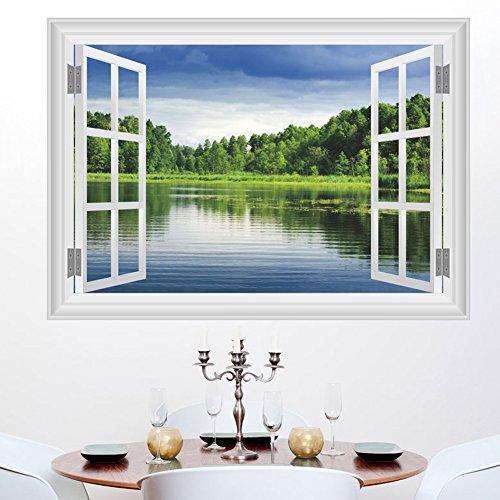 Zooarts 3d ventana paisaje los humedales, pegatina adhesiva para pared mural vinilo extraíble Room Decor