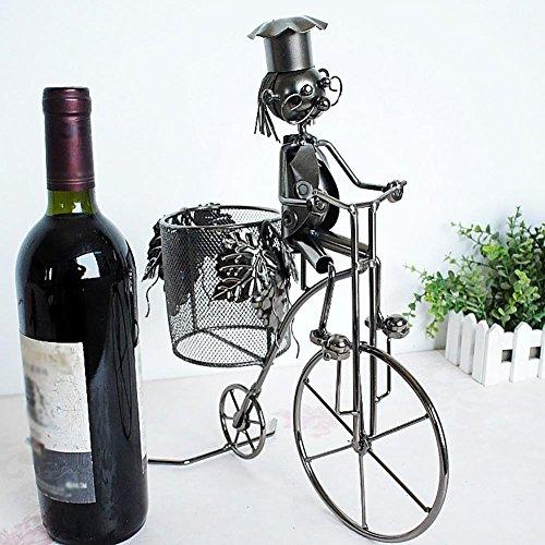 Handbuilt Home (WENBIAOXUEBicycle Styling Wine Rack Metall Handwerk Haus Dekoration Hand-built 28x9x34cm, Silber)
