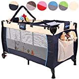 KIDUKU® Baby bed travel cot crib portable child bed folding bed bedside cot playpen, second level for infants/babies, 6 different colours, height-adjustable (Blue)