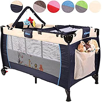 KIDUKUR Baby Bed Travel Cot Crib Portable Child Folding Bedside Playpen Second Level For Infants Babies 6 Different Colours Height Adjustable