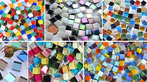 Mosaic Stones, 6 Different Types, 1 x 1 cm, Approx. 40 g, Pack of 560