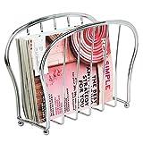 mDesign Zeitungsständer zum Aufstellen - eleganter Zeitschriftensammler aus Metall (BHT: 35,5 x 28,0 x 15,0 cm) für Badezimmer oder Büro - Zeitungshalter für Zeitungen etc. - silberfarben