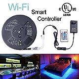 Onewatt LED WIfi Streifen Beleuchtung, Liplasting 10M 32.8ft RGB Lichtband 300LEDs 5050 SMD Wasserdichter 12V led Mit Wifi Fernbedienung für iOS und Android Smartphones Alexa(32.8ft Schwartz PCB Wifi)