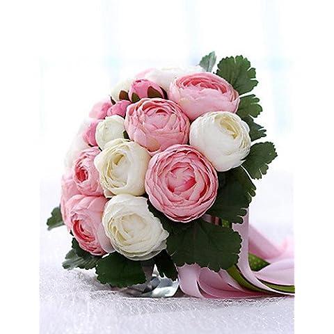 En la decoración del hogar de flores artificiales, un ramillete de 20 de tela de seda de la simulación de Boda Boda Ramo de novia Peony sosteniendo flores rosadas y blancas
