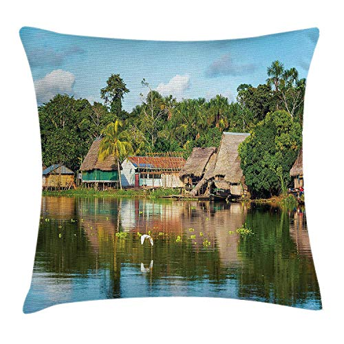 Landscape Throw Pillow Cushion Cover, Tropical Amazonian Riverside Village Huts Palm Trees Sunny Day Clouds Bird Forest, Decorative Square Accent Pillow Case,Inches, Multicolor 16x16 inch