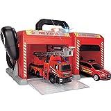 Dickie Toys 203716013 Fire Station Feuerwehrstation inkl. Feuerwehrauto und Einsatzfahrzeug