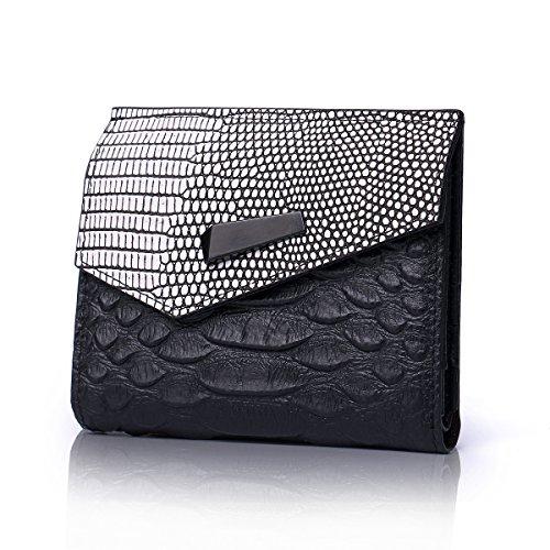 Damen Leder Geldbörse schwarz Elegant Stilvoll Portemonnaie Geldbeutel Portemonnaie - Geschenkset (Multi-pocket Damen-geldbörse)