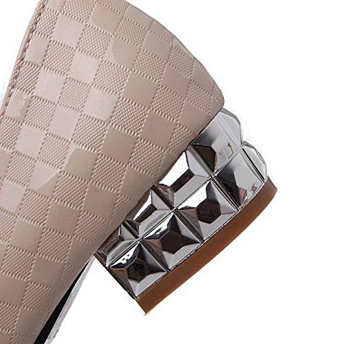 VogueZone009 Femme Mosaïque Pu Cuir à Talon Bas Pointu Tire Chaussures Légeres Beige