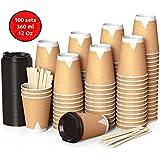 CupCup 100 Bicchieri di Carta Kraft da 360 ml con Coperchi e Agitatori in Legno per Servire Caffè, Tè, Bevande Calde e Fredde