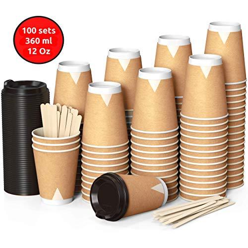 echer 360 ml Coffee to Go 12 Oz mit Deckel und Holz Rührstäbchen Zum Servieren von Kaffee, Tee, Heißen und Kalten Getränken ()