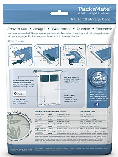 Packmate ® Reise Vakuumbeutel zum Aufrollen | 8er Set | Platzsparend auf Reisen und im Koffer