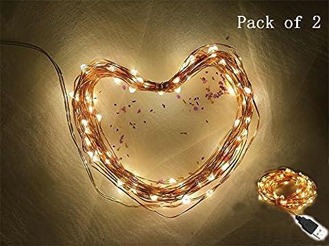 intensité variable étanche Starry Guirlande lumineuse LED alimenté par USB à suspendre Docor pour chambre à coucher Intérieur Extérieur 10,1m Fil de cuivre 100LEDs Blanc Chaud éclairage d'ambiance pour patio Mariage de Noël, blanc chaud, Lot de 2