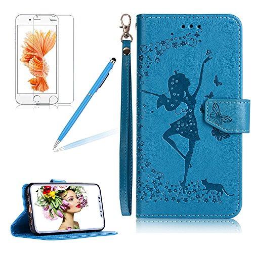 Girlyard Premium PU Ledertasche für Apple iPhone X mit Lanyard Strap, Flip Case in Brieftasche Book Style Schutzhülle Blumen und Tanzen Mädchen Muster Design 2 in 1 Abnehmbare Magnetverschluss mit Standfunktion Karteneinschub Handyhülle Etui -- Blau