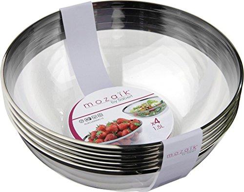 Thali Outlet Leeds-40x sabert klare Kunststoff 20cm 1,5l Salat Servieren Schalen Silber Rand für Geburtstag Hochzeiten alle Anlässe