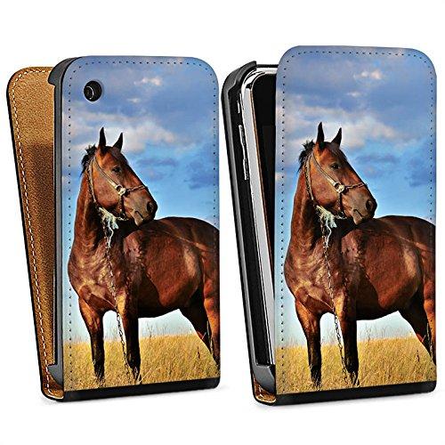 Apple iPhone 4 Housse Étui Protection Coque Cheval Jument Étalon Sac Downflip noir