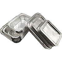 Amacoam 30 Piezas Desechables Papel de Aluminio para Horno,Caja Desechable de Papel Aluminio con Tapas Cubiertas Recipientes Portátiles para Alimentos 230 ml 400 ml 600 ml