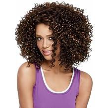 Western Sexy Lady hombro longitud marrón rizado partido peluca de pelo Afro Peluca de pelo para las mujeres negras