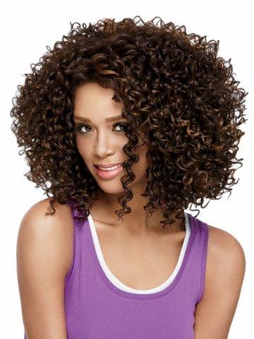 Trois Tons Noir/marron/rouge clair Ombre bouclés Wave spirales Fashion perruque afro perruque intégrale