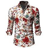 UJUNAOR Camicie Uomo Maglia A Maniche Lunghe,Slim,Fit,Originale Camicia con Bottoni Elegante Stampato Floreale,S/M/L/XL/XXL(XX-Large,Beige)