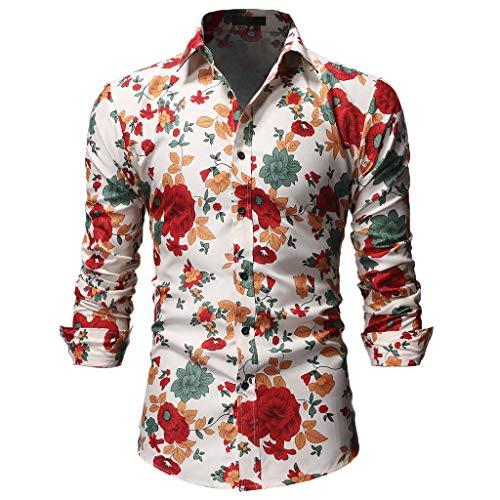 Ujunaor camicie uomo maglia a maniche lunghe,slim,fit,originale camicia con bottoni elegante stampato floreale,s/m/l/xl/xxl(medium,beige)