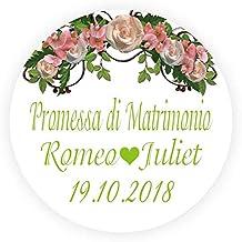 2657f21402a3 LYLY 50 Pezzi Adesivi Personalizzate Bomboniere Promessa di Matrimonio con  Nome - Corona 4 cm Diametro