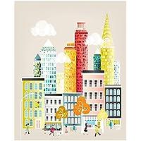 Nueva York Lámina Horizonte, arte de la pared de papel impresiones del cartel, Ilustración del paisaje urbano, decoración del hogar