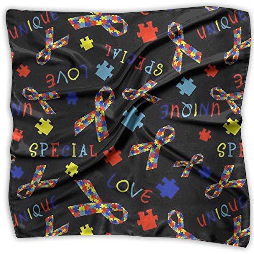 Hoklcvd Autism Awareness Women's Large Square Satin Head Bandanas Silk Like Neck Bandana - Adler Satin