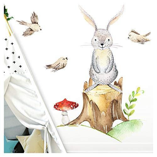 Little deco parete tatuaggio lepre e uccelli i m - 56 x 65 cm (lxa) i funghi murales camera per bambini camera per bambini deco baby room boy sticker adesivo murale bambini adesivi adesivi dl187