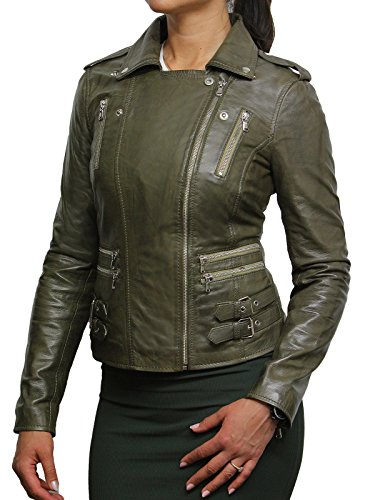 Brandslock Damen-Frauen 100% Echtes Leder Bikerjacke Schwarz Ausgestattet Bikers Stil Vintage Rock Khaki Grun